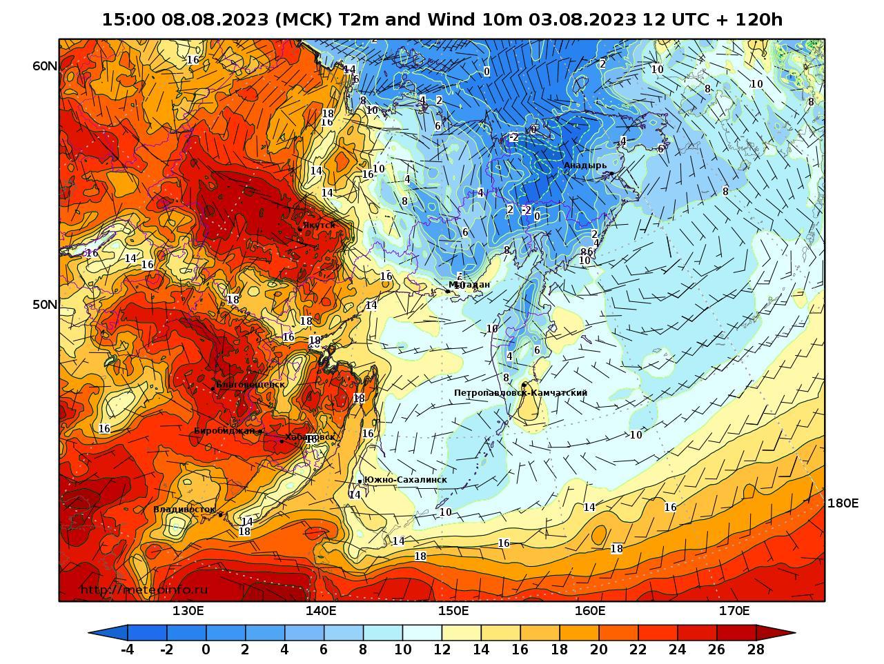 Дальний Восток, прогностическая карта приземная температура, заблаговременность прогноза 120 часов