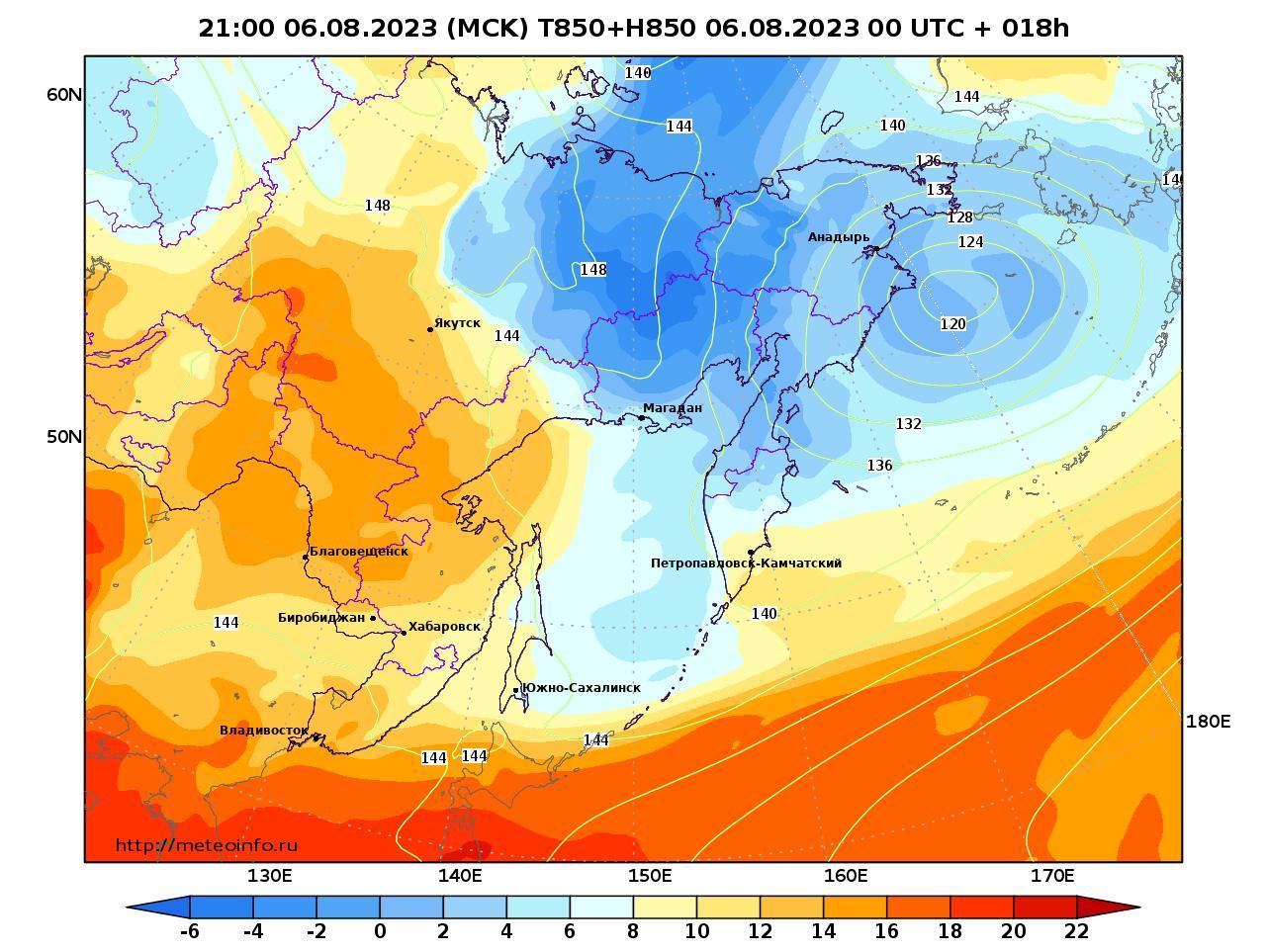 Дальний Восток, прогностическая карта температура T850 и геопотенциал H850, заблаговременность прогноза 18 часов