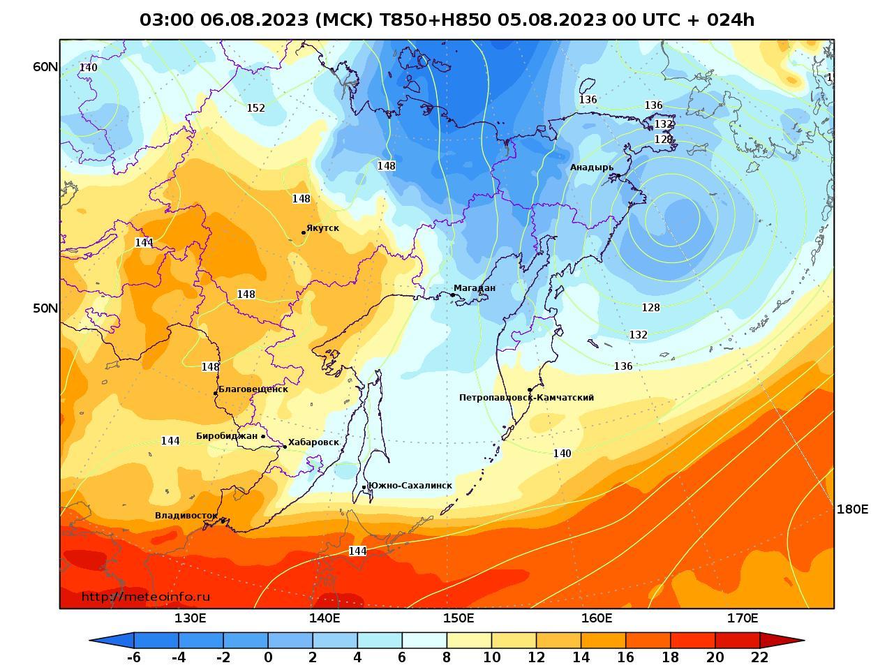 Дальний Восток, прогностическая карта температура T850 и геопотенциал H850, заблаговременность прогноза 24 часа