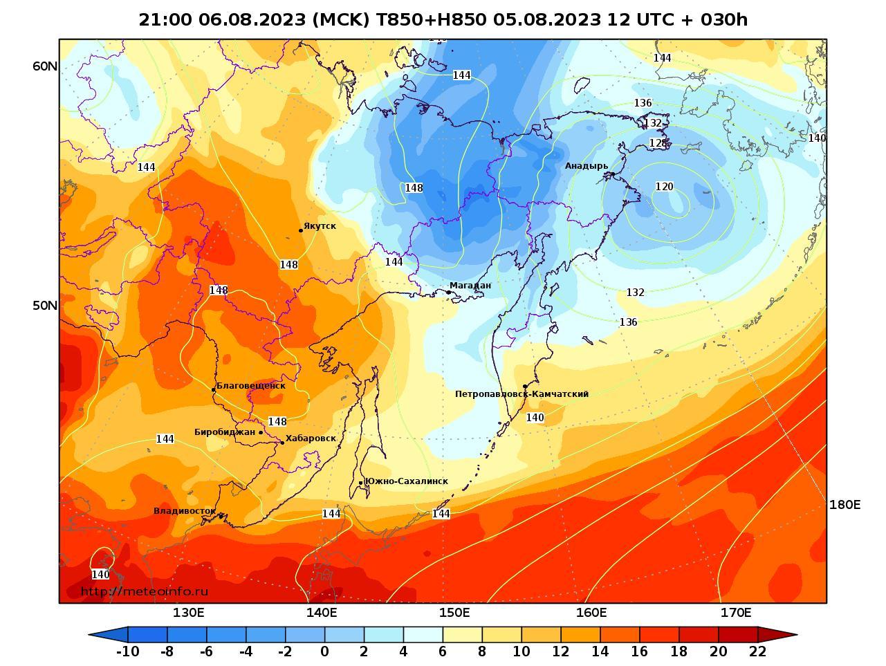 Дальний Восток, прогностическая карта температура T850 и геопотенциал H850, заблаговременность прогноза 30 часов