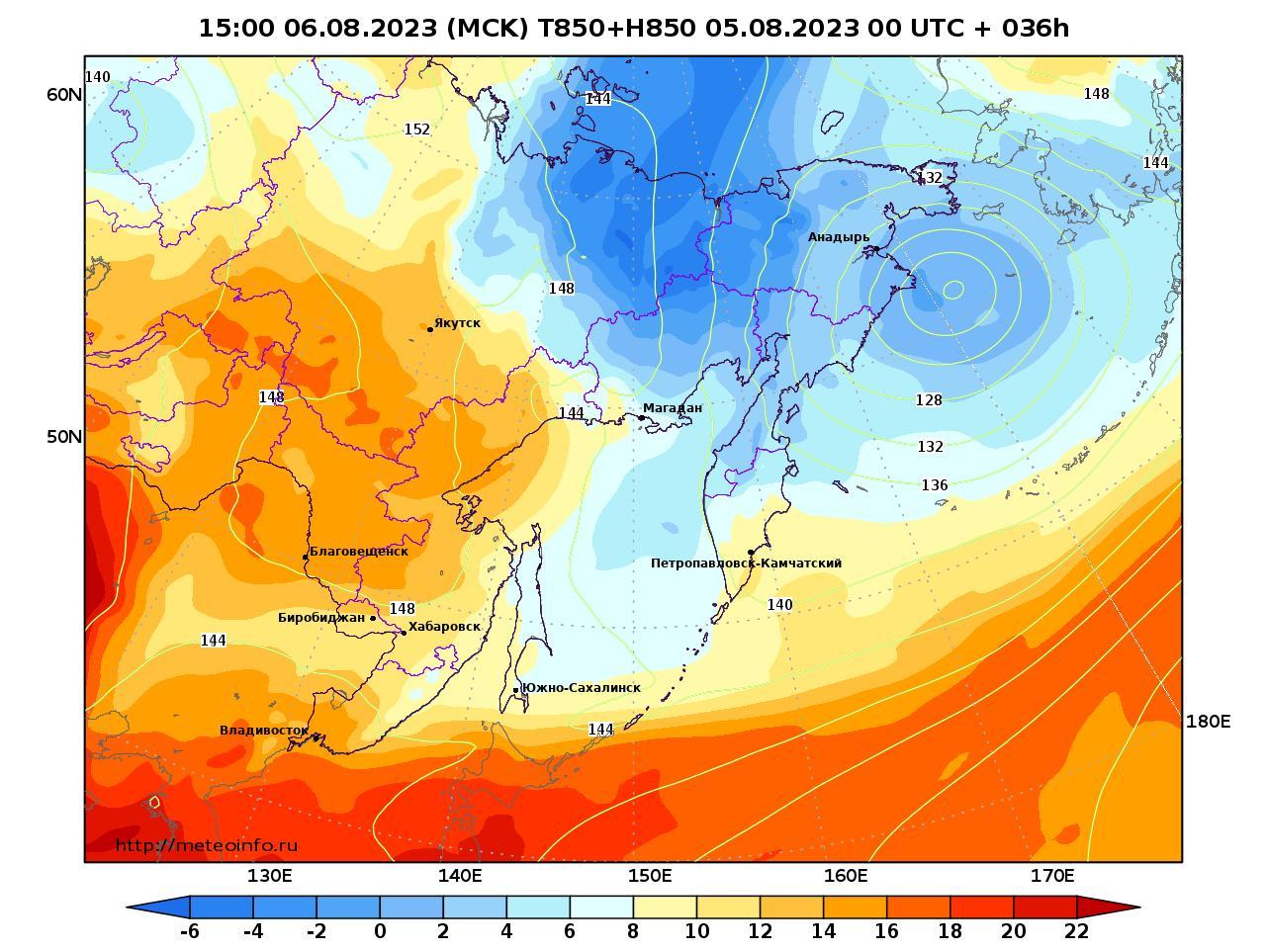 Дальний Восток, прогностическая карта температура T850 и геопотенциал H850, заблаговременность прогноза 36 часов