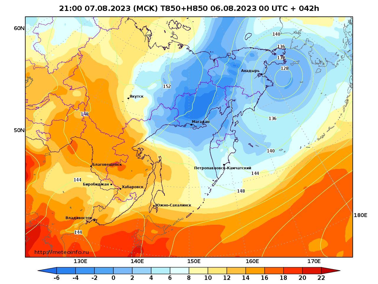 Дальний Восток, прогностическая карта температура T850 и геопотенциал H850, заблаговременность прогноза 42 часа