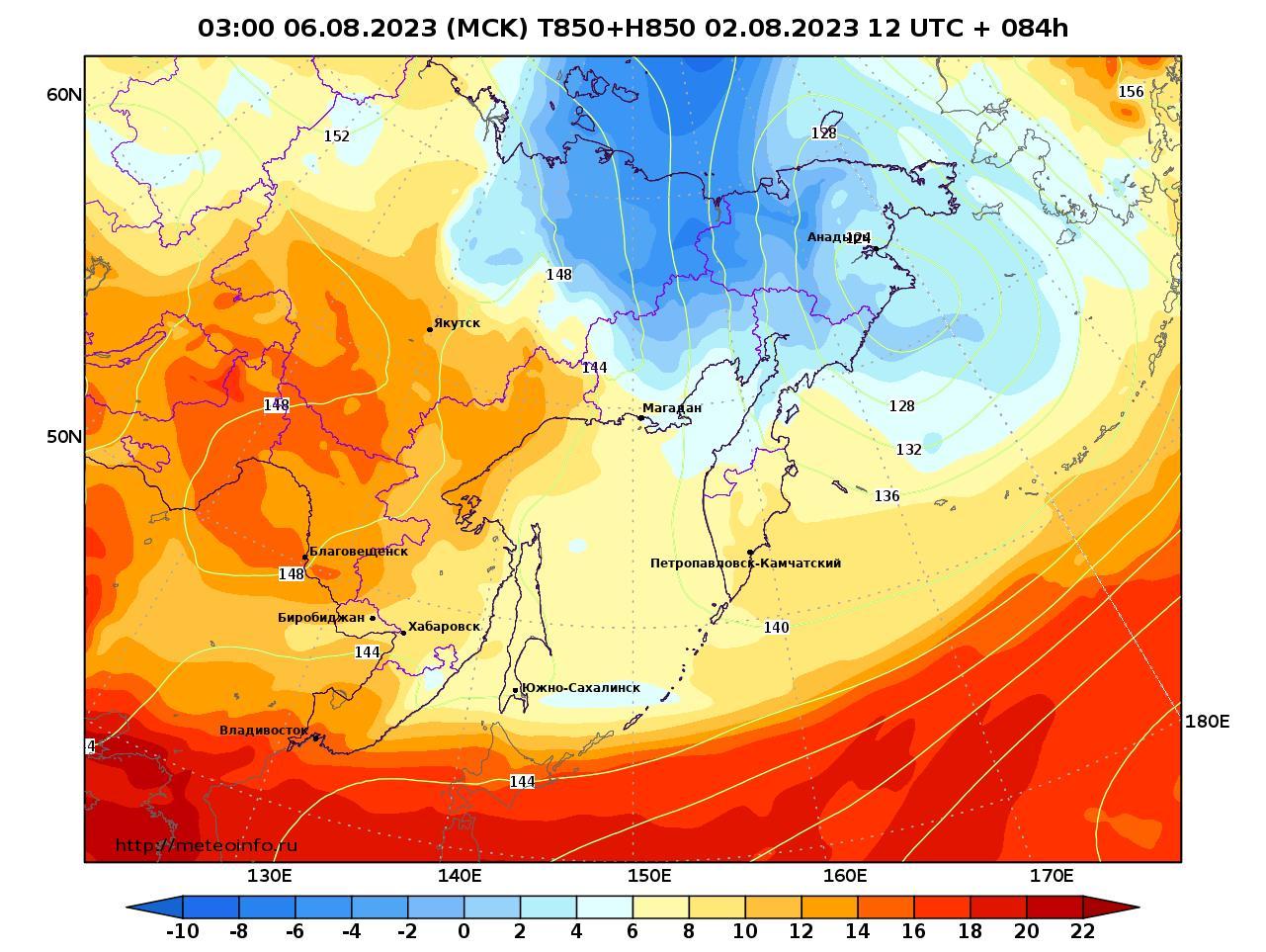 Дальний Восток, прогностическая карта температура T850 и геопотенциал H850, заблаговременность прогноза 84 часа