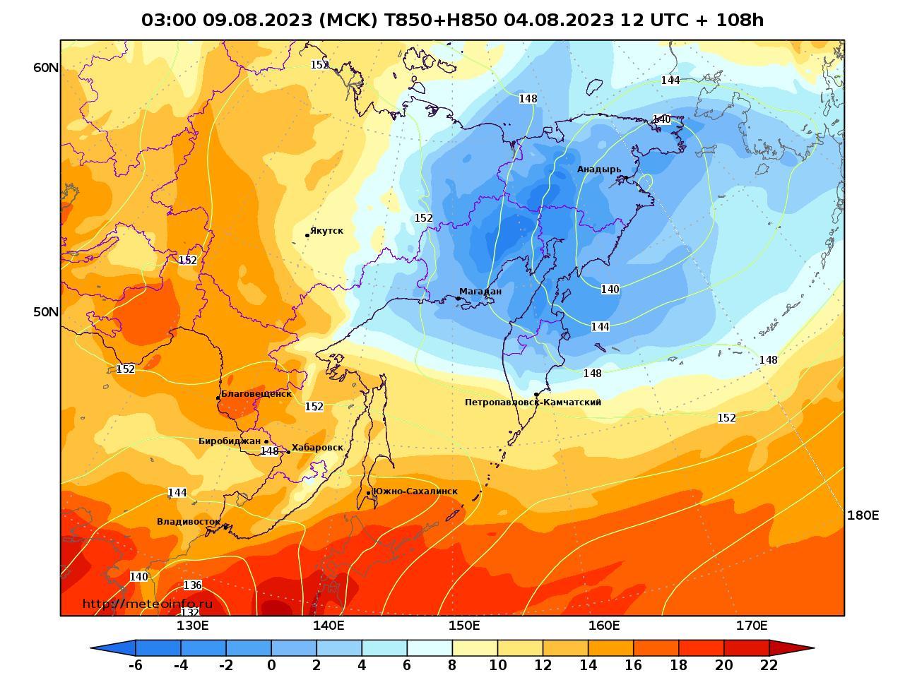Дальний Восток, прогностическая карта температура T850 и геопотенциал H850, заблаговременность прогноза 108 часов