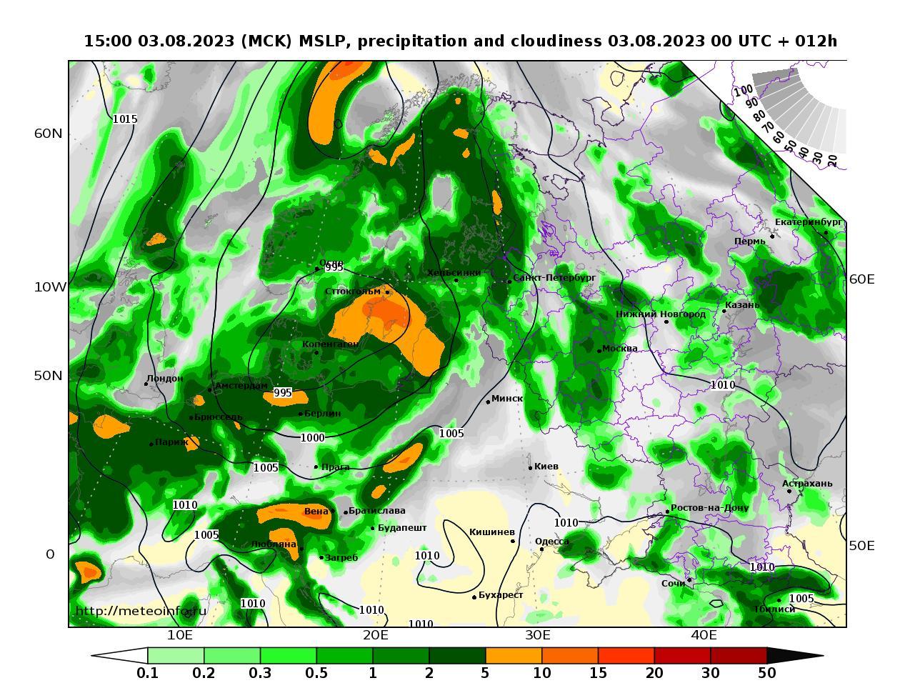Европейская территория России, прогностическая карта осадки и давление, заблаговременность прогноза 12 часов