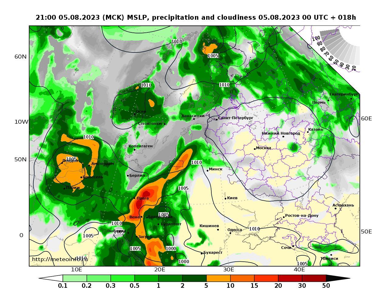 Европейская территория России, прогностическая карта осадки и давление, заблаговременность прогноза 18 часов