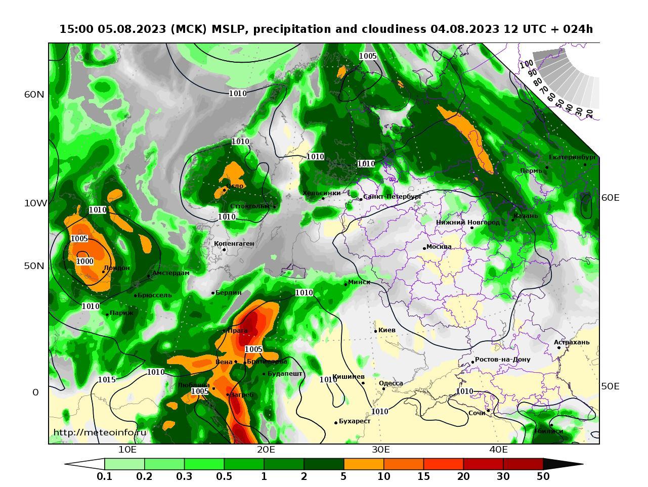 Европейская территория России, прогностическая карта осадки и давление, заблаговременность прогноза 24 часа