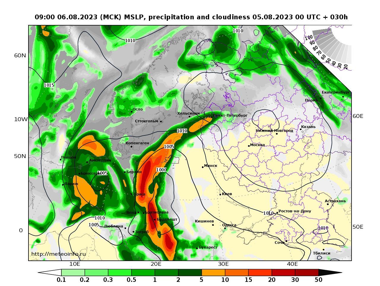 Европейская территория России, прогностическая карта осадки и давление, заблаговременность прогноза 30 часов
