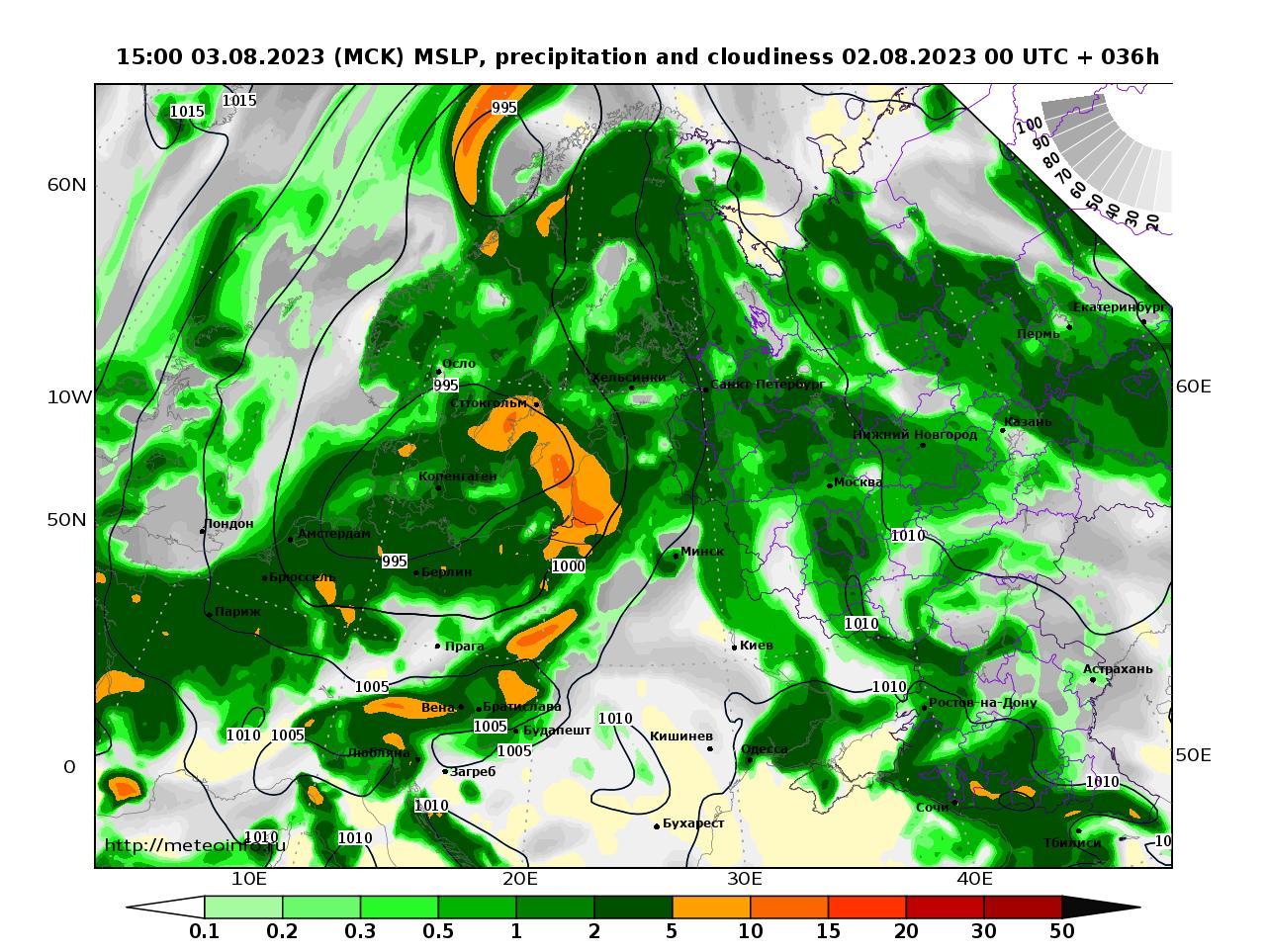 Европейская территория России, прогностическая карта осадки и давление, заблаговременность прогноза 36 часов