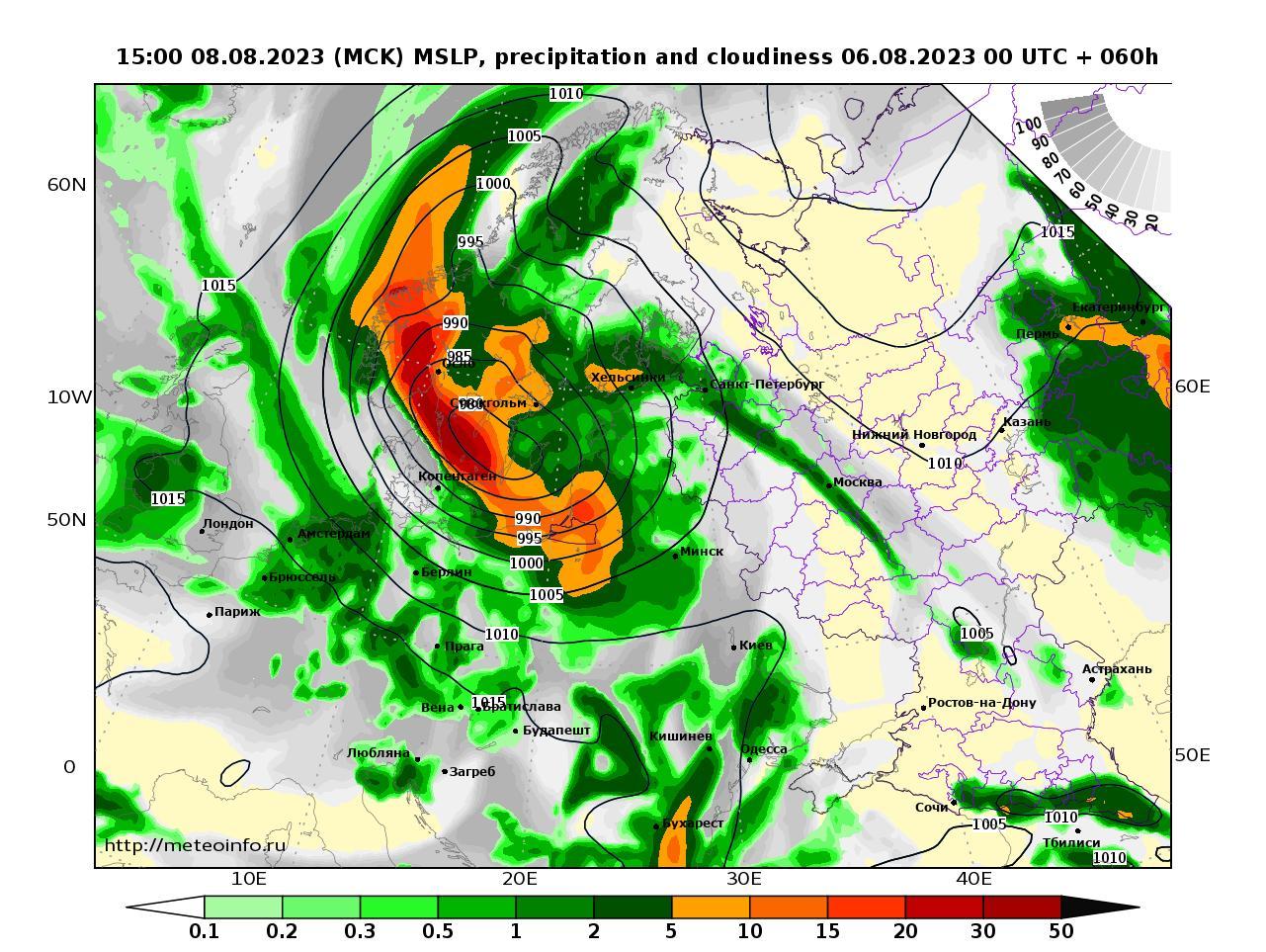 Европейская территория России, прогностическая карта осадки и давление, заблаговременность прогноза 60 часов