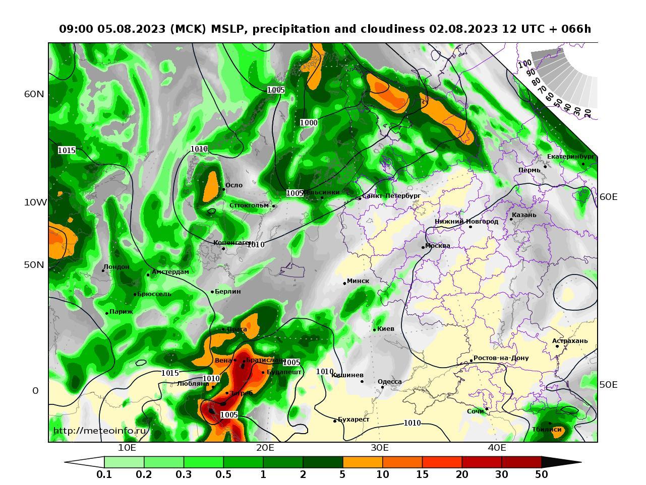 Европейская территория России, прогностическая карта осадки и давление, заблаговременность прогноза 66 часов