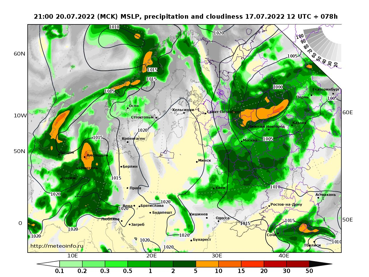 Европейская территория России, прогностическая карта осадки и давление, заблаговременность прогноза 78 часов