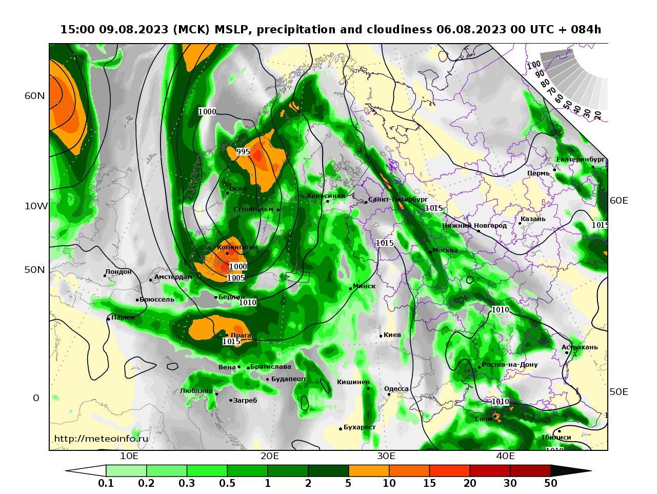 Европейская территория России, прогностическая карта осадки и давление, заблаговременность прогноза 84 часа
