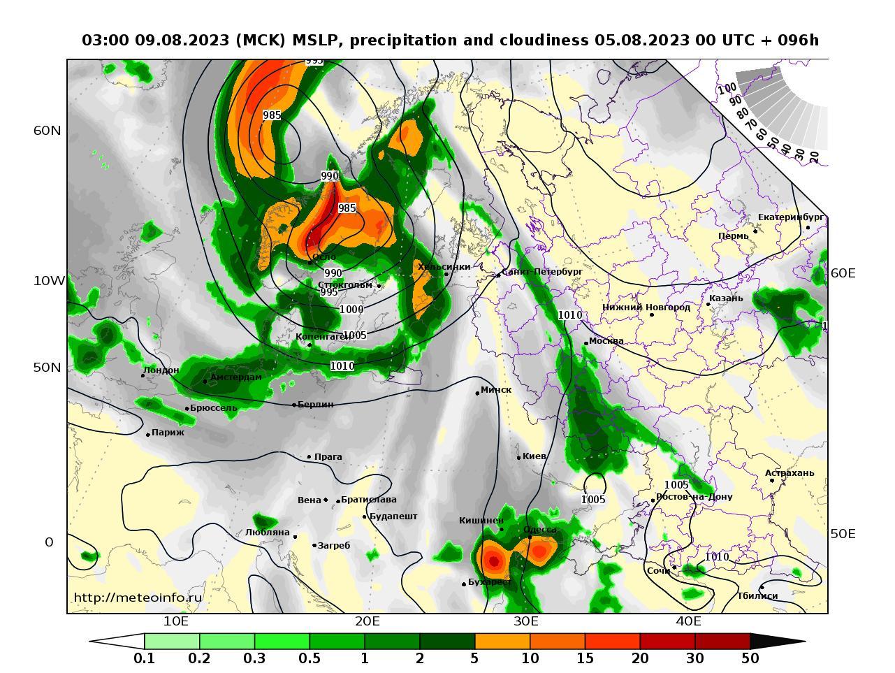 Европейская территория России, прогностическая карта осадки и давление, заблаговременность прогноза 96 часов
