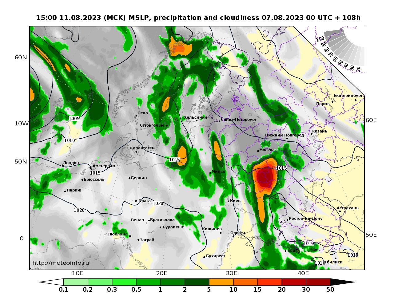 Европейская территория России, прогностическая карта осадки и давление, заблаговременность прогноза 108 часов