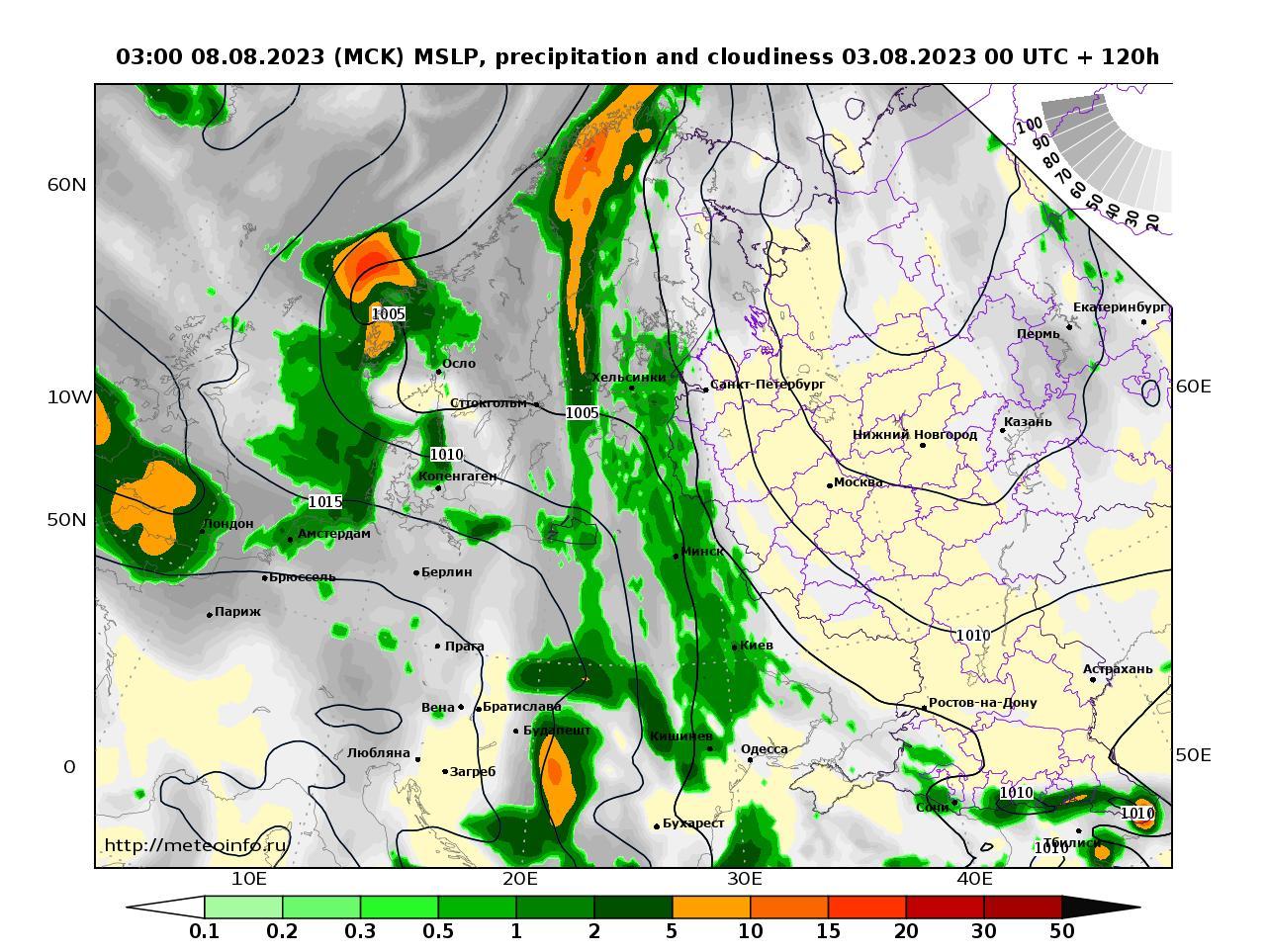 Европейская территория России, прогностическая карта осадки и давление, заблаговременность прогноза 120 часов