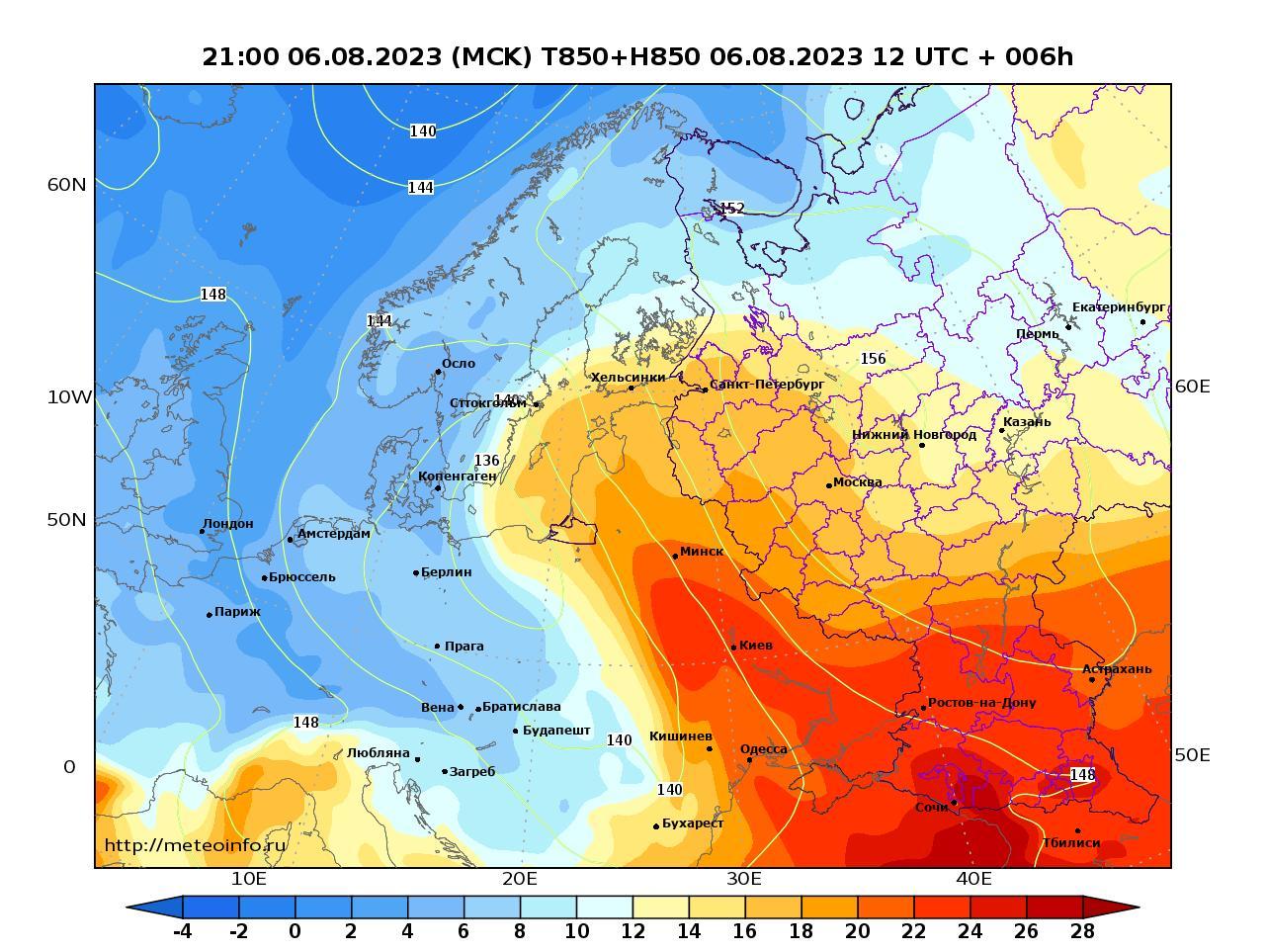 Европейская территория России, прогностическая карта температура T850 и геопотенциал H850, заблаговременность прогноза 6 часов