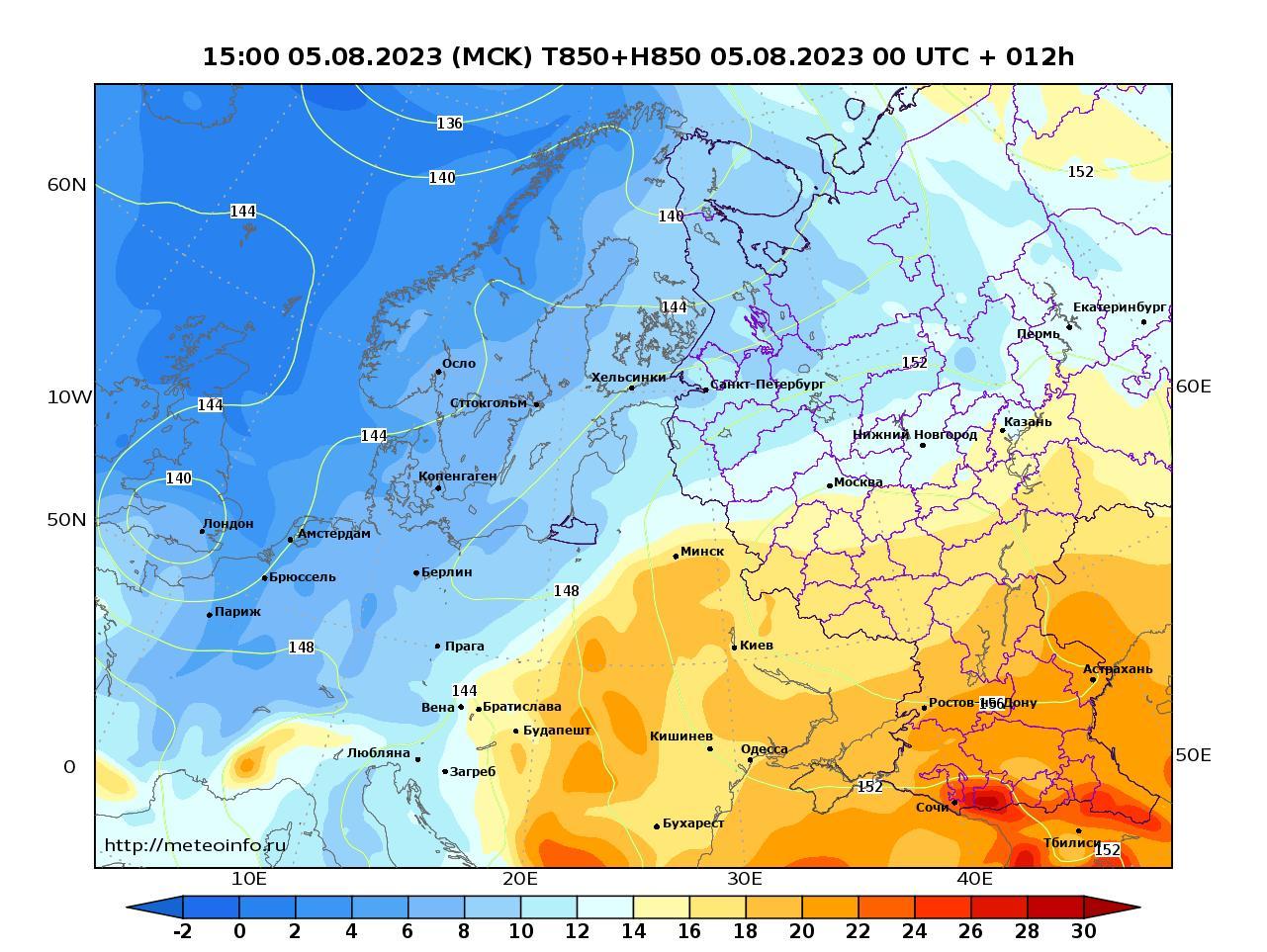 Европейская территория России, прогностическая карта температура T850 и геопотенциал H850, заблаговременность прогноза 12 часов