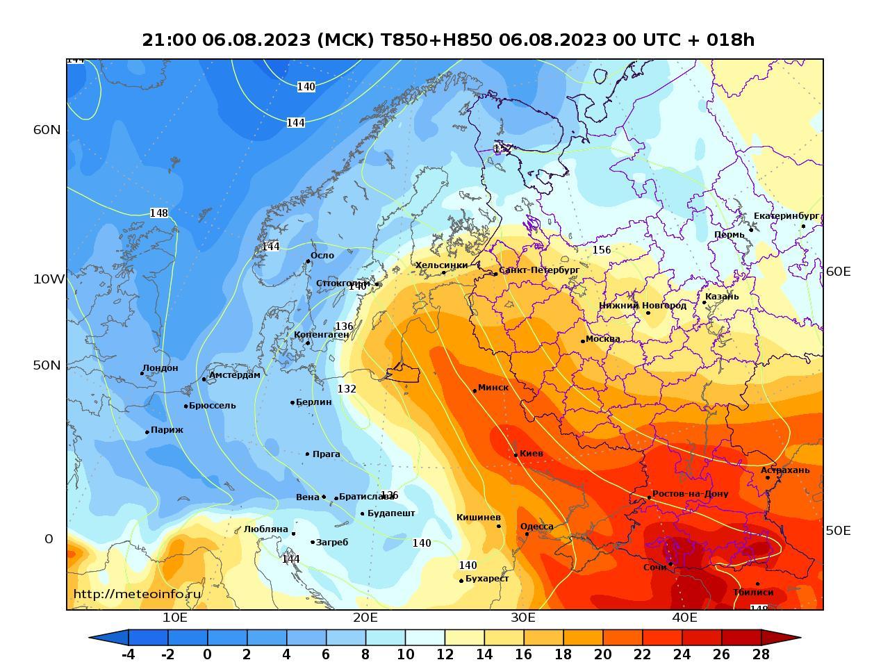 Европейская территория России, прогностическая карта температура T850 и геопотенциал H850, заблаговременность прогноза 18 часов