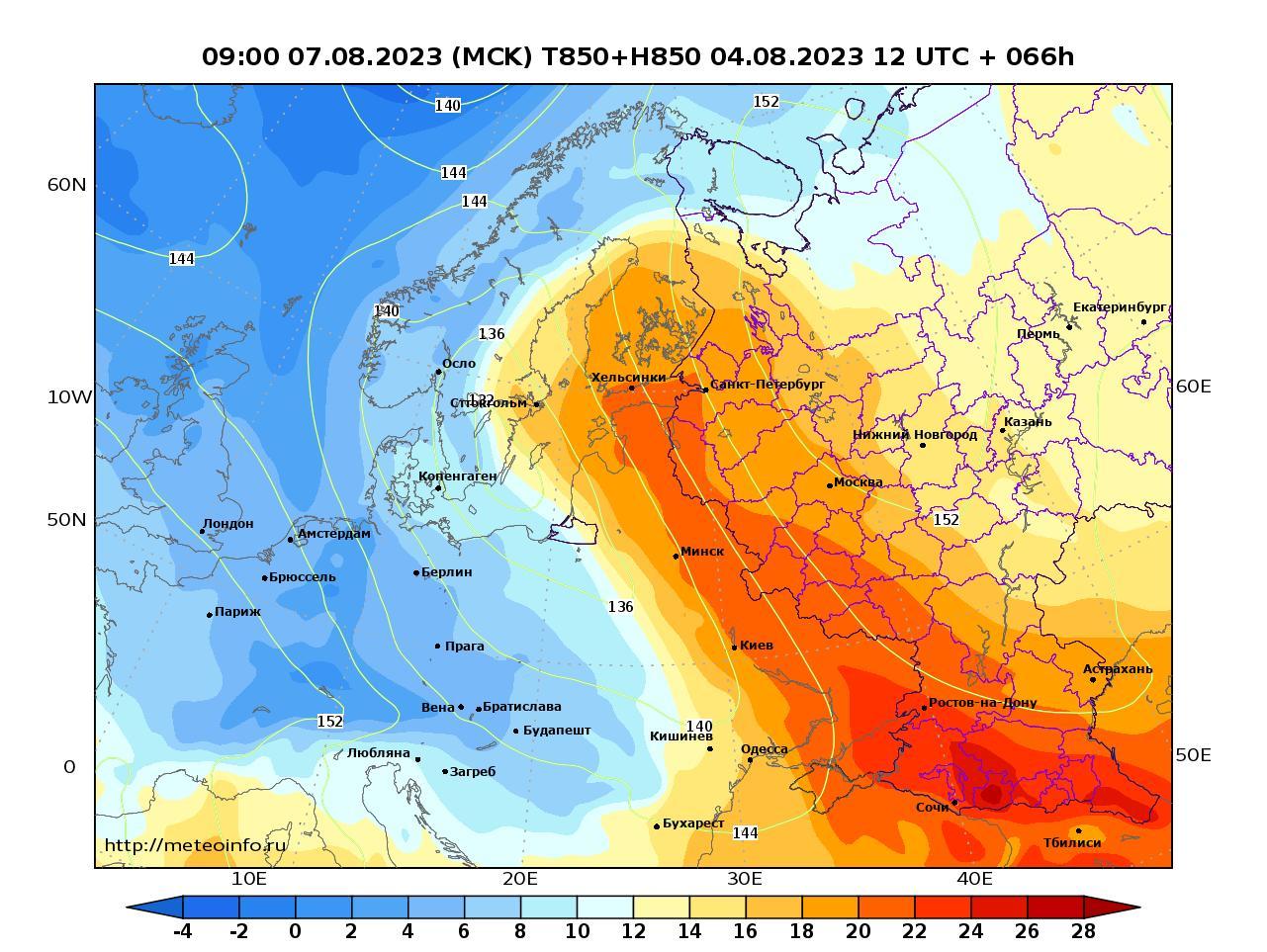 Европейская территория России, прогностическая карта температура T850 и геопотенциал H850, заблаговременность прогноза 66 часов