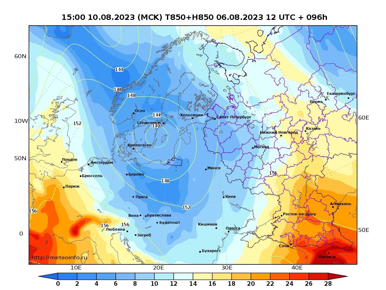 Европейская территория России, прогностическая карта температура T850 и геопотенциал H850, заблаговременность прогноза 96 часов