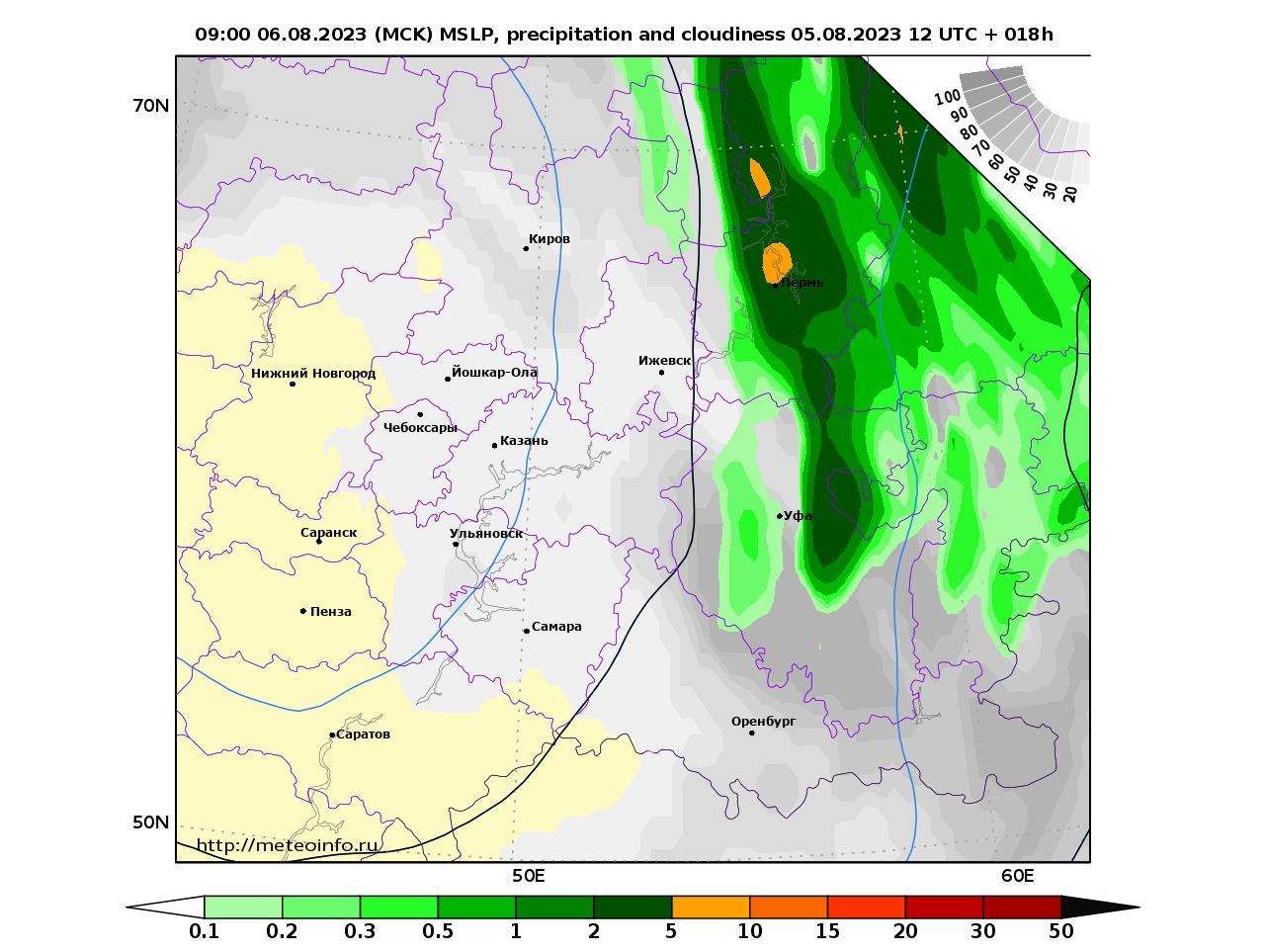 Приволжский Федеральный округ, прогностическая карта осадки и давление, заблаговременность прогноза 18 часов