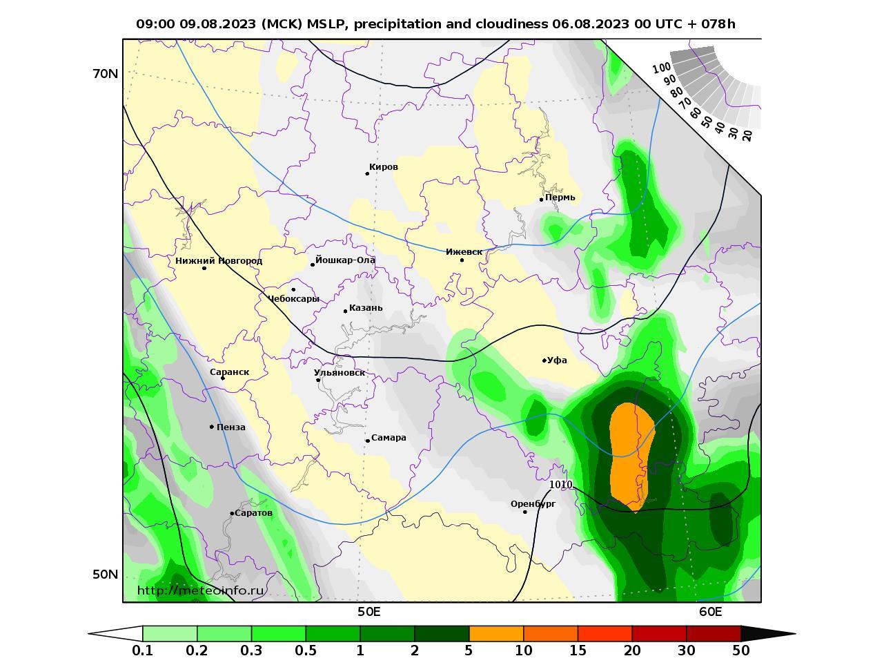 Приволжский Федеральный округ, прогностическая карта осадки и давление, заблаговременность прогноза 78 часов