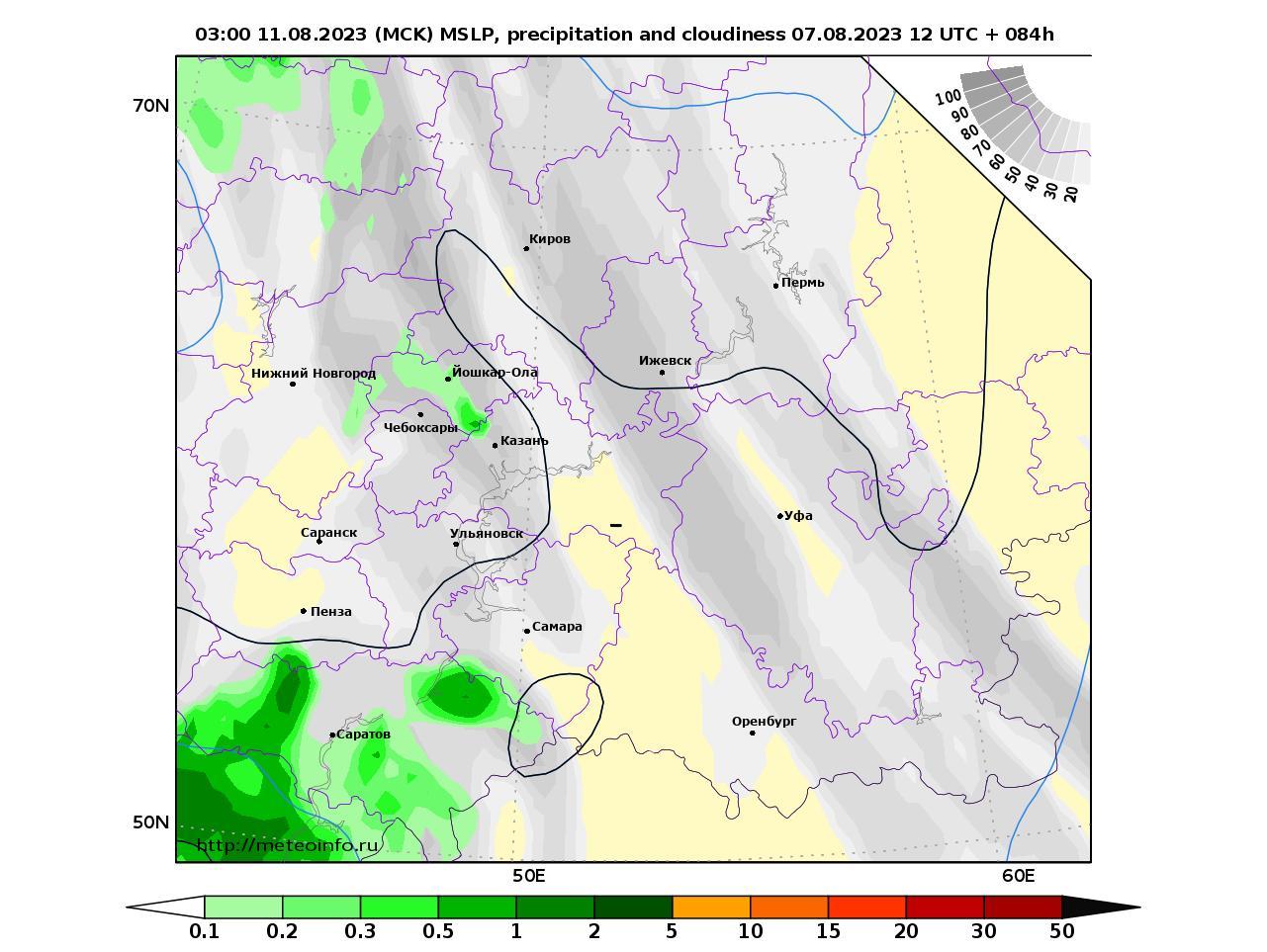 Приволжский Федеральный округ, прогностическая карта осадки и давление, заблаговременность прогноза 84 часа
