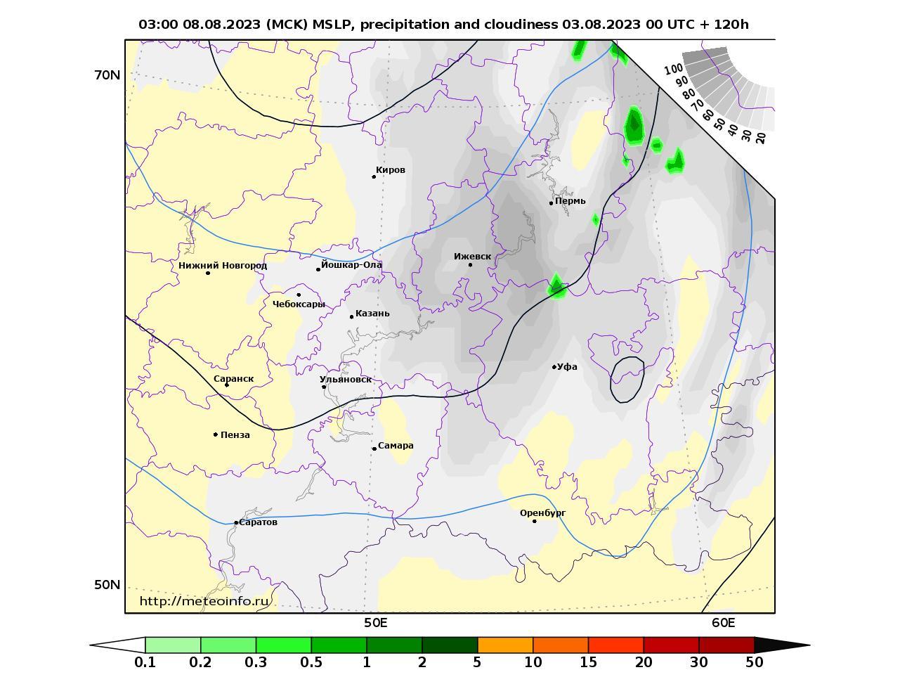 Приволжский Федеральный округ, прогностическая карта осадки и давление, заблаговременность прогноза 120 часов