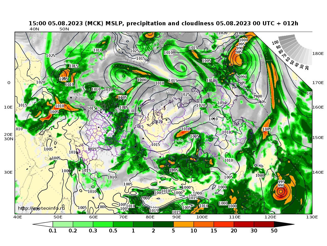Россия, прогностическая карта осадки и давление, заблаговременность прогноза 12 часов