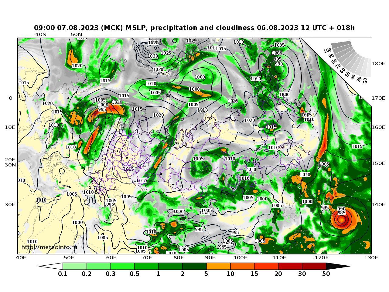 Россия, прогностическая карта осадки и давление, заблаговременность прогноза 18 часов