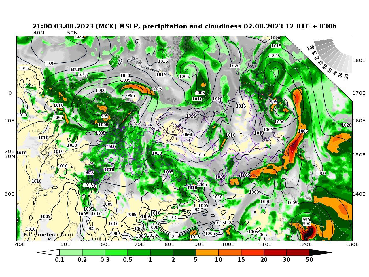 Россия, прогностическая карта осадки и давление, заблаговременность прогноза 30 часов