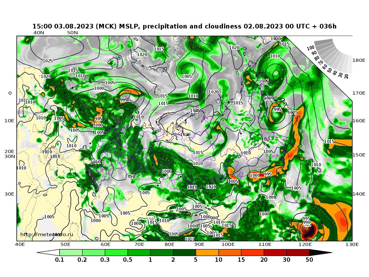 Россия, прогностическая карта осадки и давление, заблаговременность прогноза 36 часов