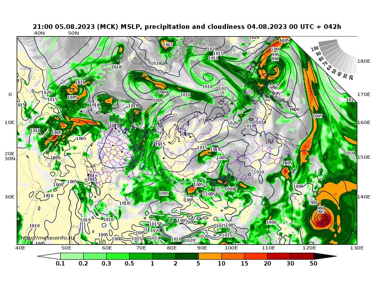 Россия, прогностическая карта осадки и давление, заблаговременность прогноза 42 часа
