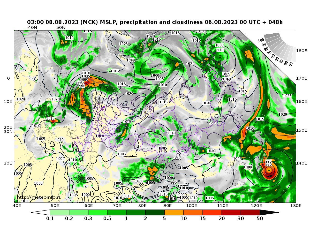 Россия, прогностическая карта осадки и давление, заблаговременность прогноза 48 часов