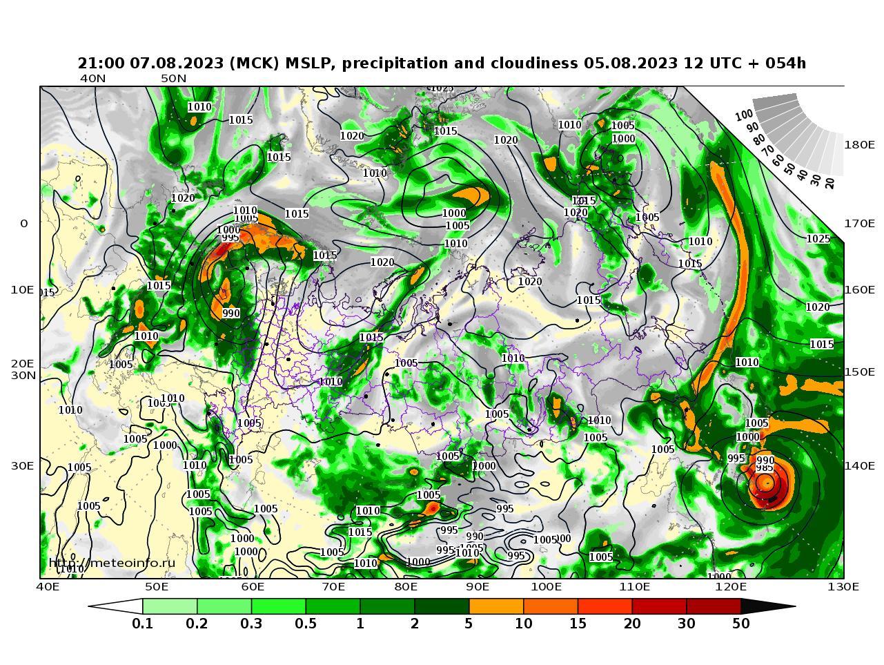 Россия, прогностическая карта осадки и давление, заблаговременность прогноза 54 часа