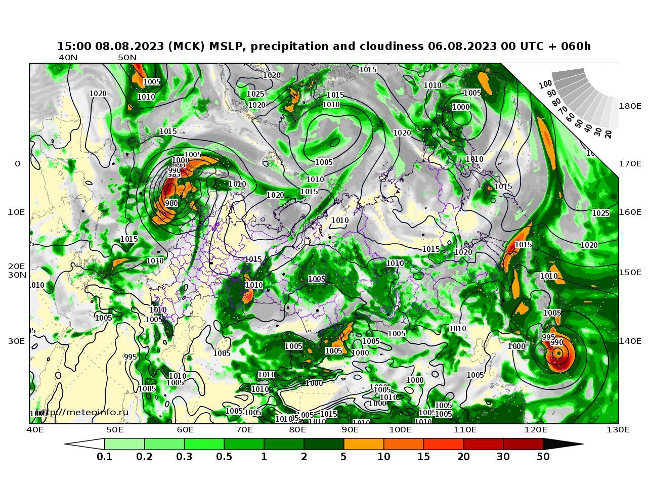 Россия, прогностическая карта осадки и давление, заблаговременность прогноза 60 часов