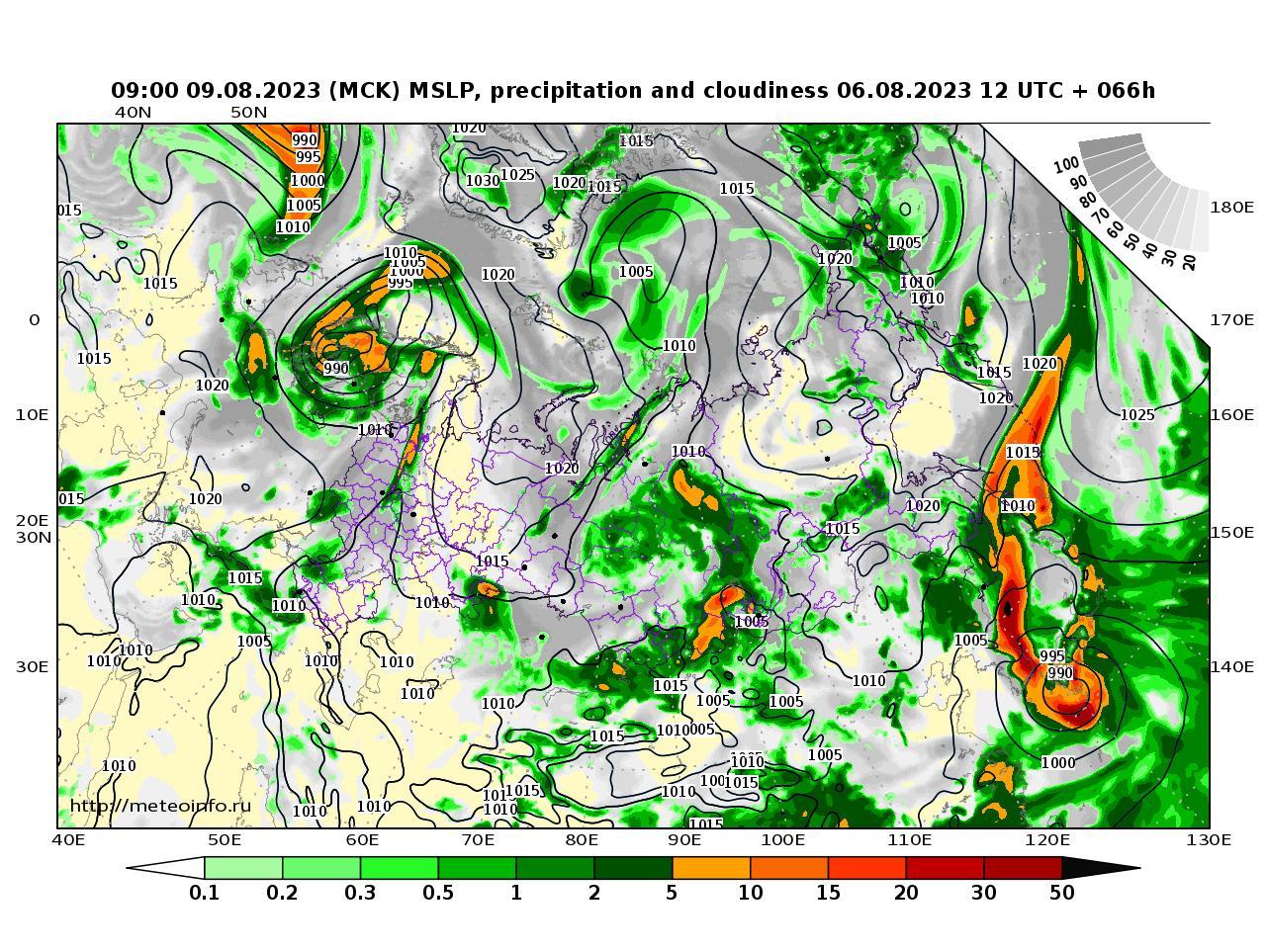 Россия, прогностическая карта осадки и давление, заблаговременность прогноза 66 часов