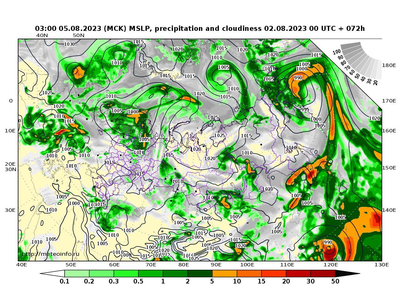 Россия, прогностическая карта осадки и давление, заблаговременность прогноза 72 часа