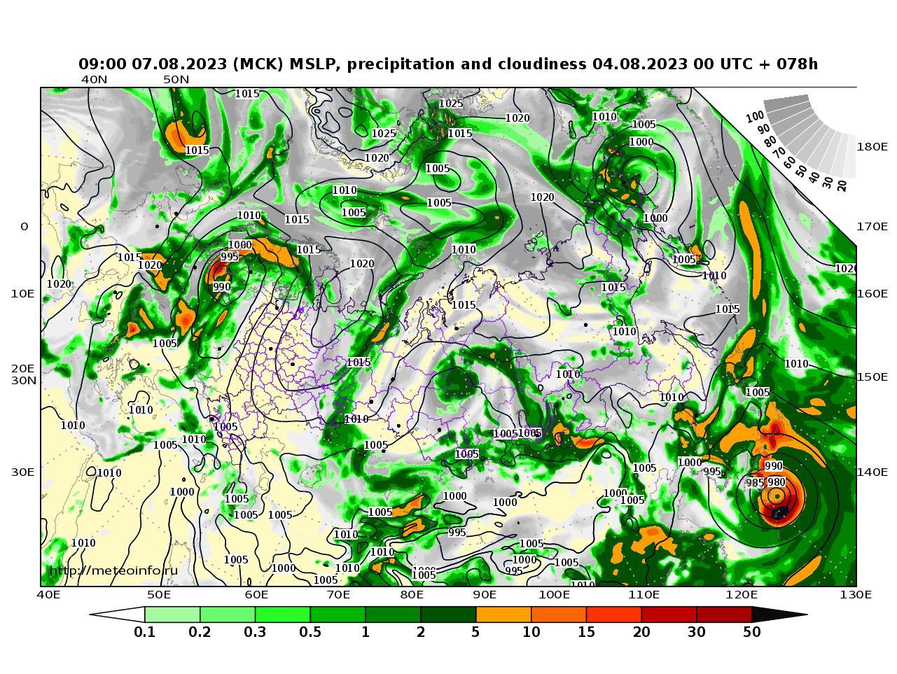 Россия, прогностическая карта осадки и давление, заблаговременность прогноза 78 часов