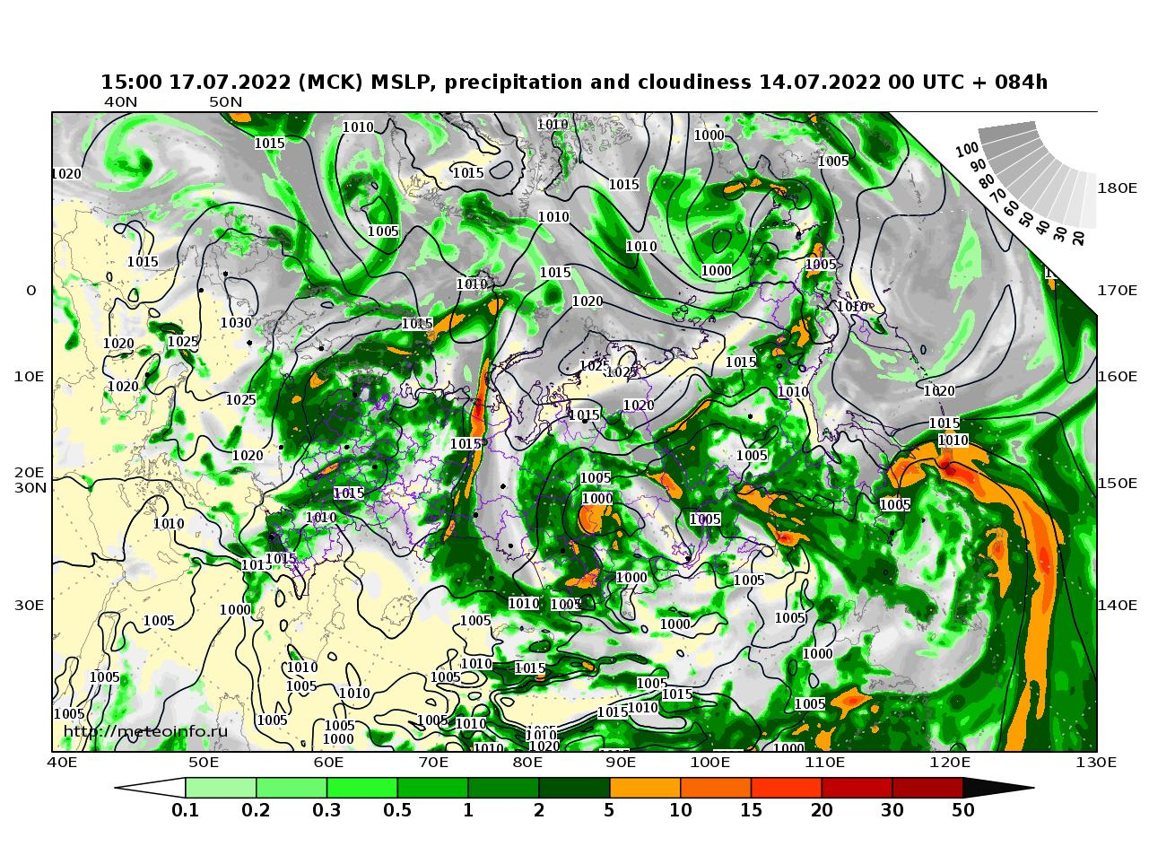 Россия, прогностическая карта осадки и давление, заблаговременность прогноза 84 часа