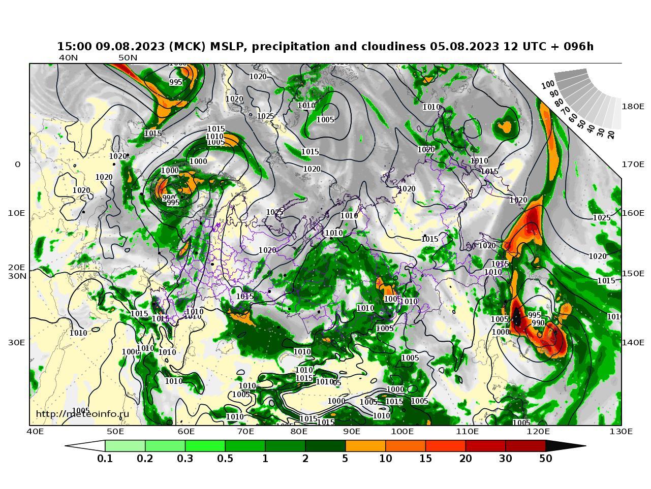 Россия, прогностическая карта осадки и давление, заблаговременность прогноза 96 часов