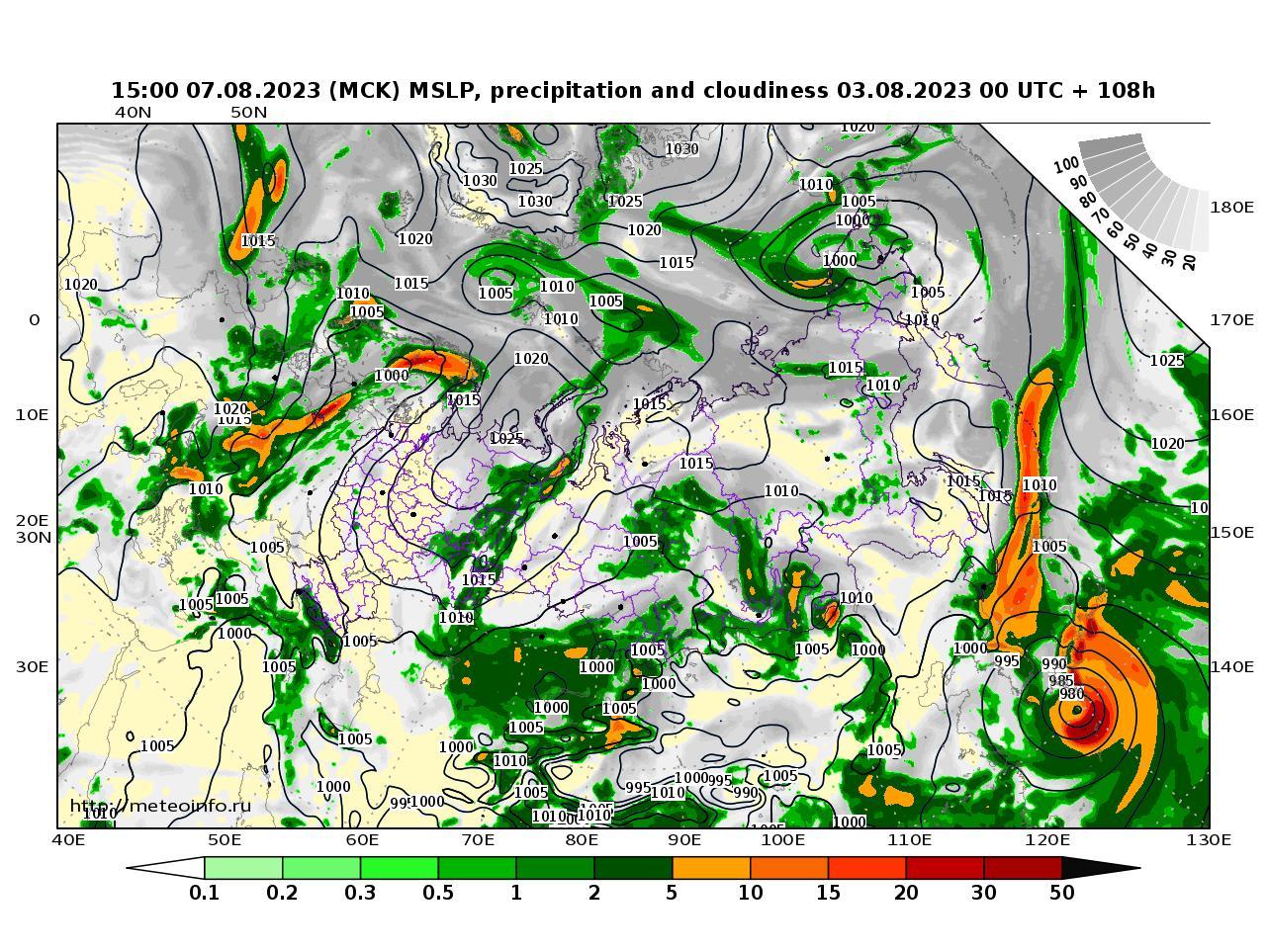 Россия, прогностическая карта осадки и давление, заблаговременность прогноза 108 часов