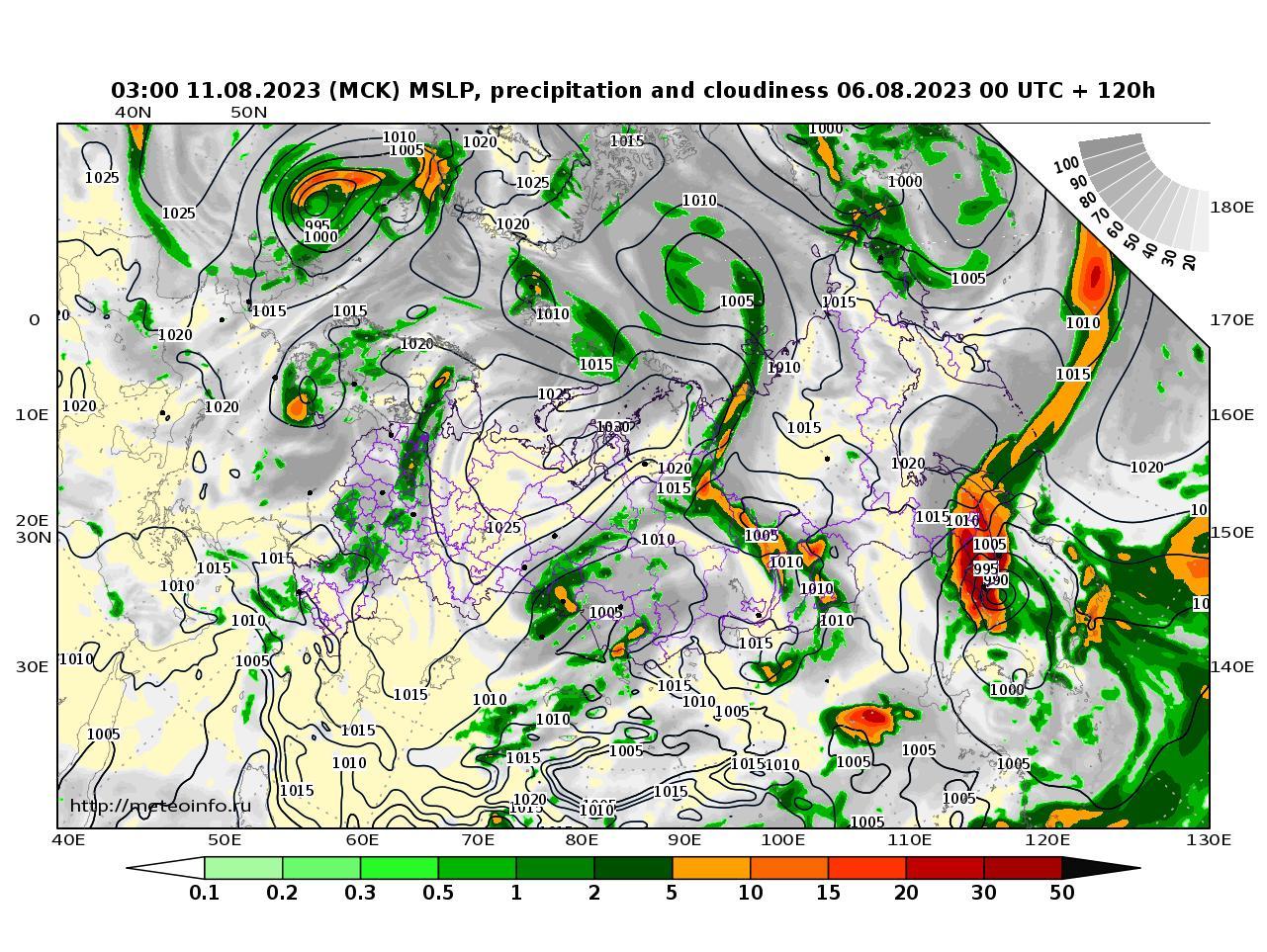 Россия, прогностическая карта осадки и давление, заблаговременность прогноза 120 часов