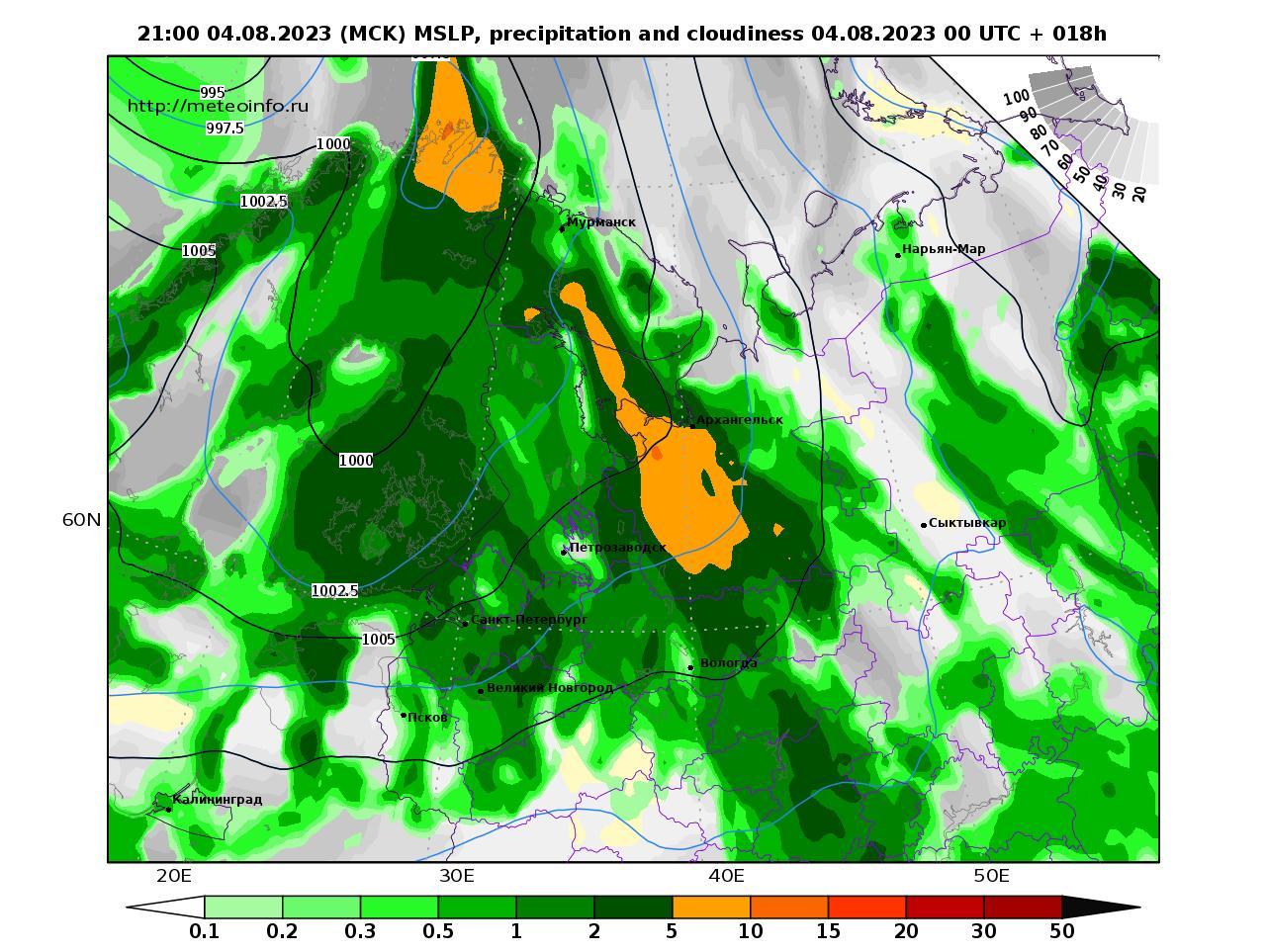 Северо-Западный Федеральный округ, прогностическая карта осадки и давление, заблаговременность прогноза 18 часов