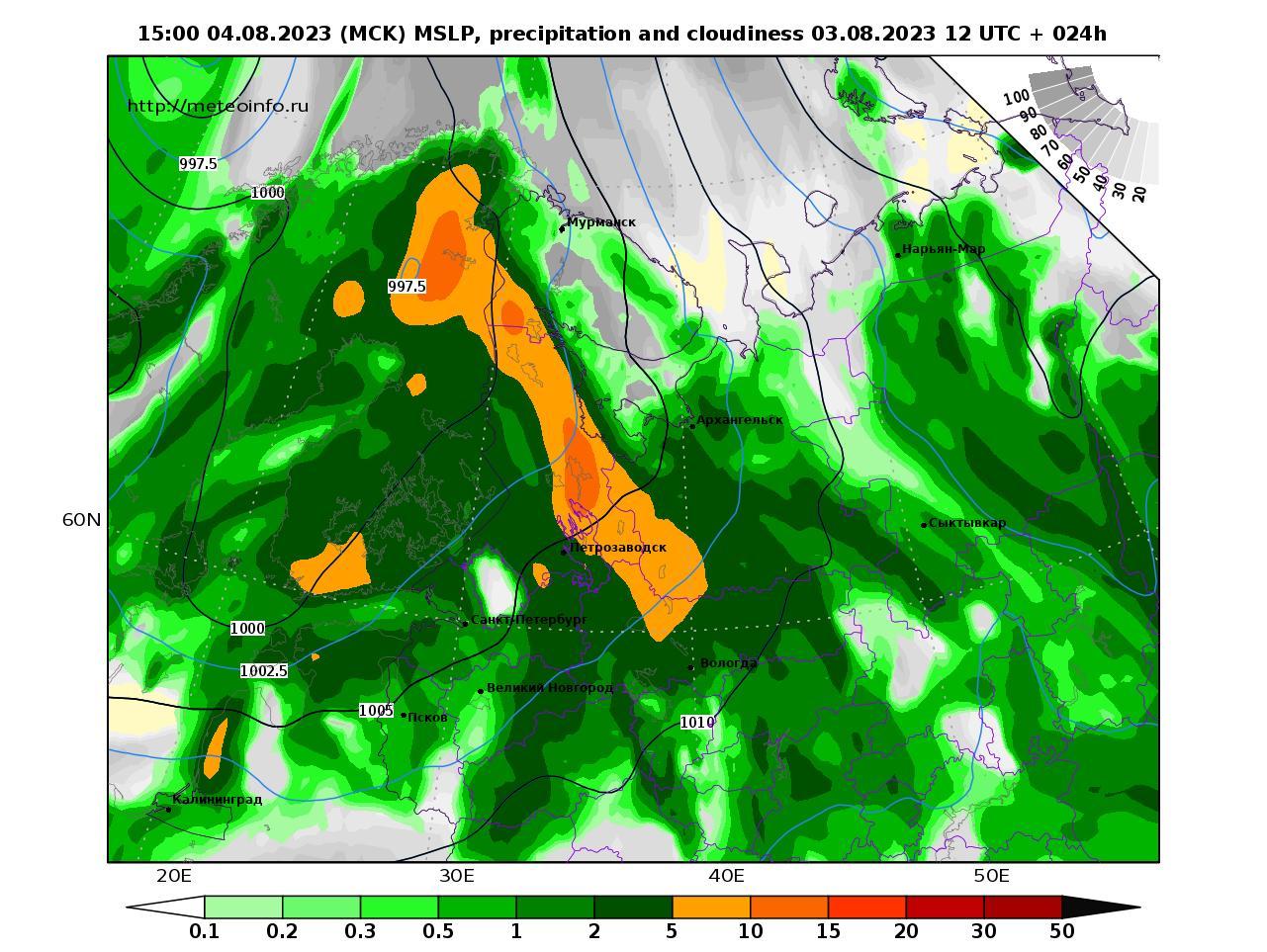 Северо-Западный Федеральный округ, прогностическая карта осадки и давление, заблаговременность прогноза 24 часа