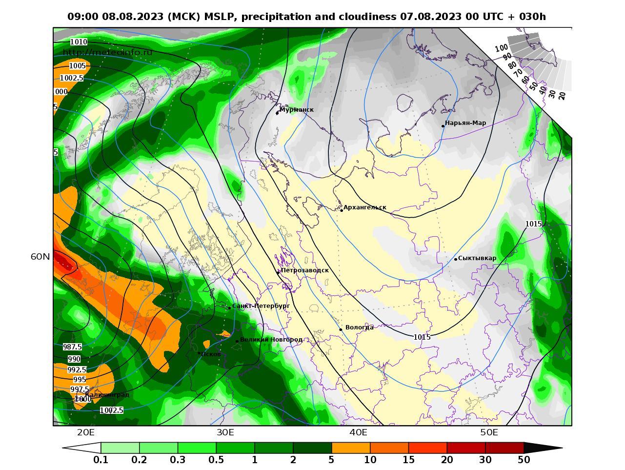 Северо-Западный Федеральный округ, прогностическая карта осадки и давление, заблаговременность прогноза 30 часов