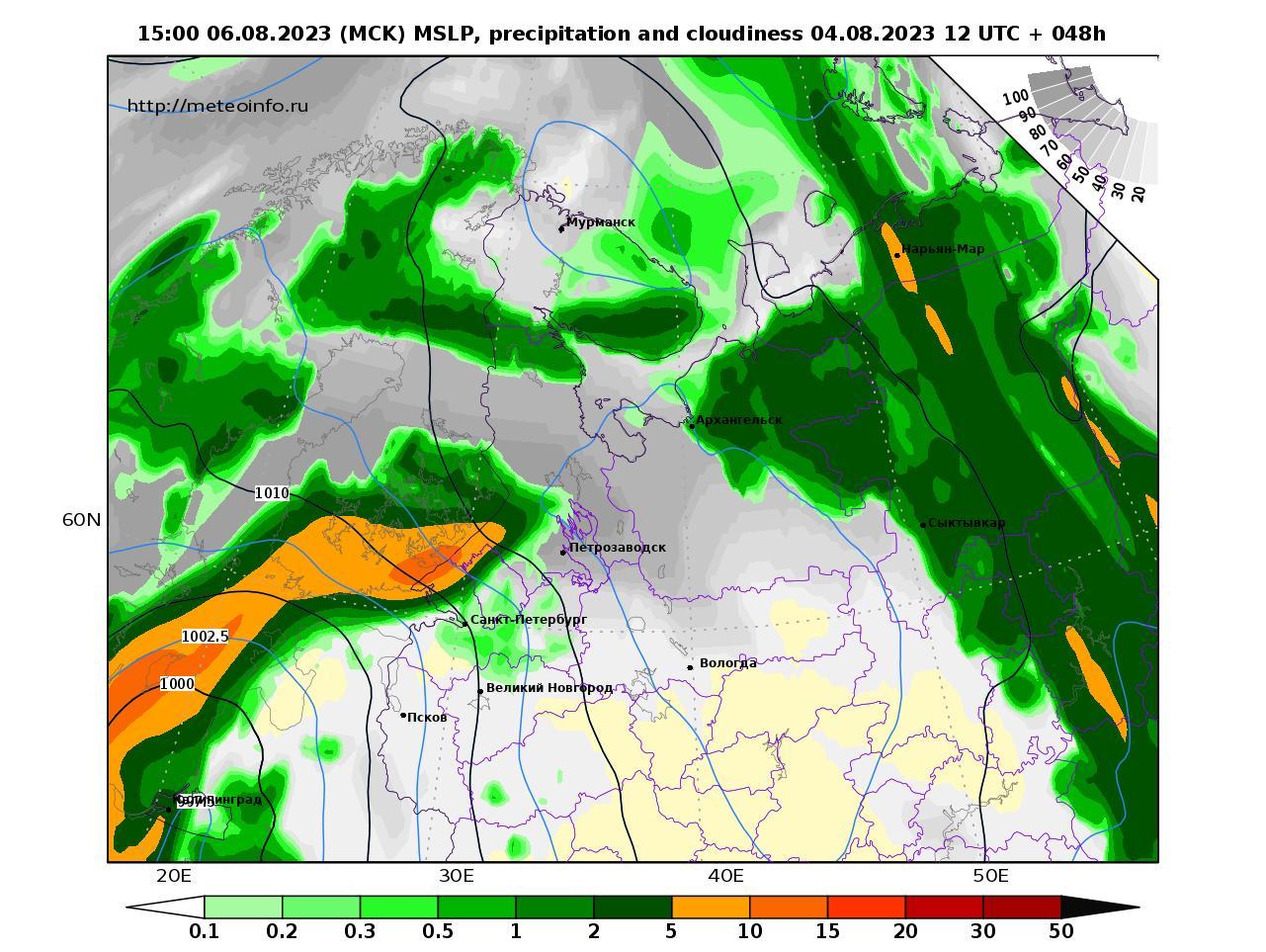 Северо-Западный Федеральный округ, прогностическая карта осадки и давление, заблаговременность прогноза 48 часов