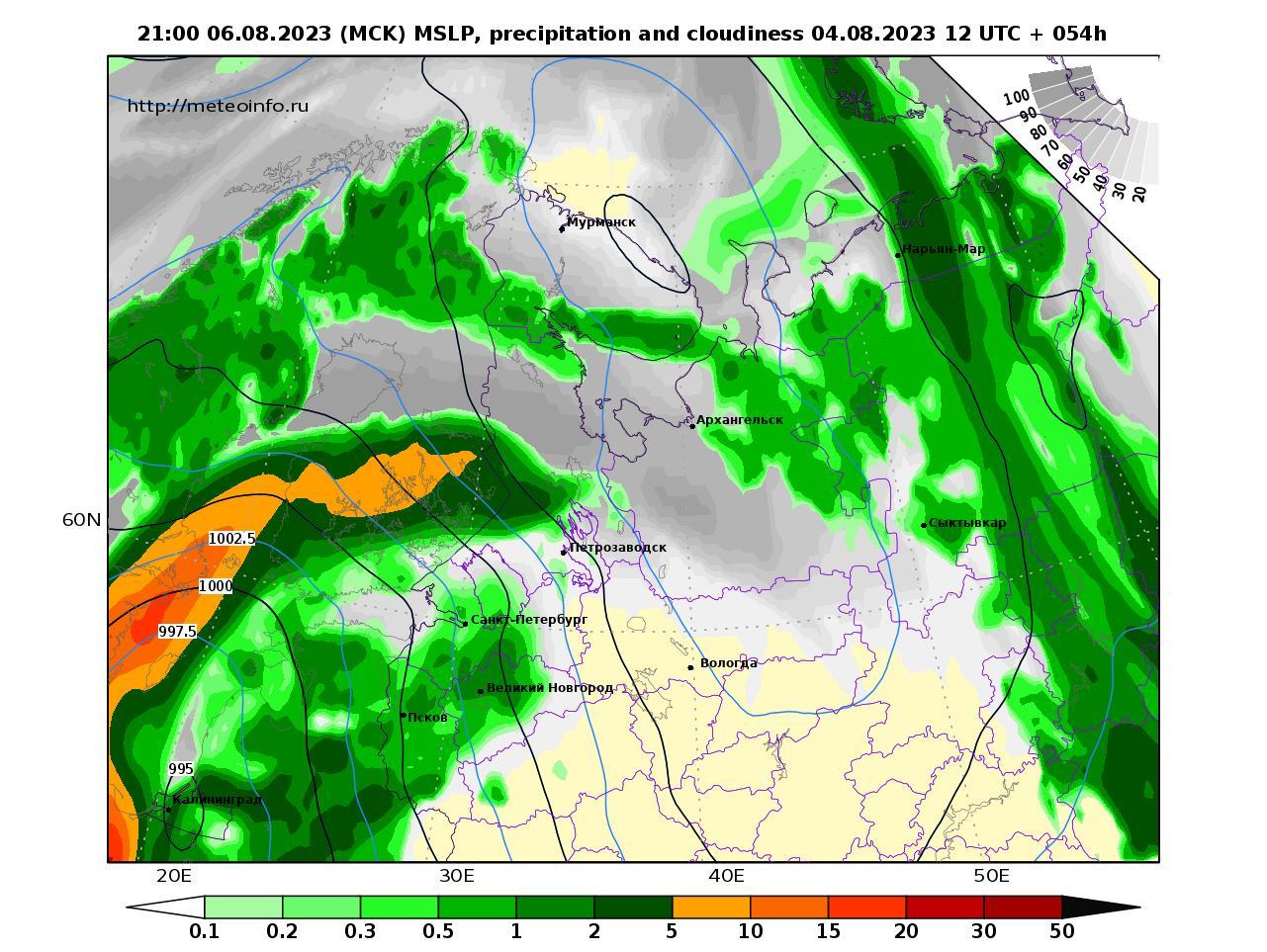 Северо-Западный Федеральный округ, прогностическая карта осадки и давление, заблаговременность прогноза 54 часа