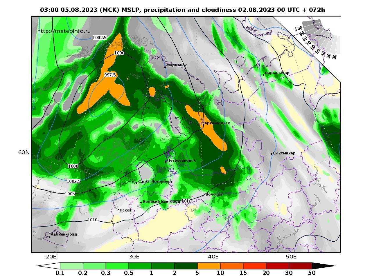 Северо-Западный Федеральный округ, прогностическая карта осадки и давление, заблаговременность прогноза 72 часа